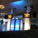 LED DJ Booth, Drum Percussion with Dual Plasmas