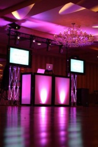 LED DJ Booth, Dual TV's & Deluxe Lighting