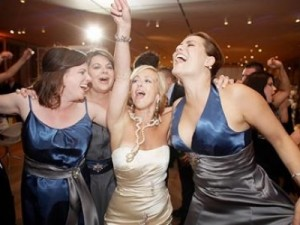 Bride singing with the girls!